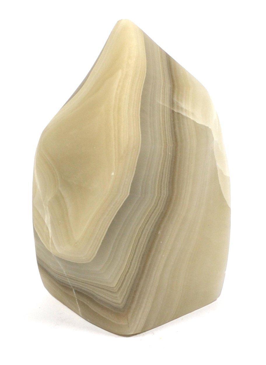 Ven a elegir tu propio estilo deportivo. Ashen piedras de cristal gris gris gris llama, 5,5 cm de alto (2.35lbs), tallado de Real del Norte Americano Calcita – la serie Artisan minadas por HBAR  salida