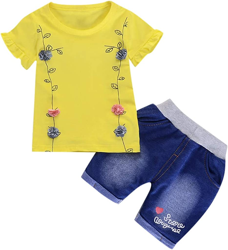 Cotton Solid Flower T-Shirt residentD Spring Infant Baby Girl Clothing Set 12M-3Y Denim Shorts Casual Outfits