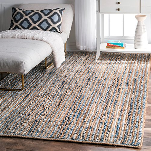 nuLOOM MGDR02A Hand Braided Striped Dara Jute Rug, 7