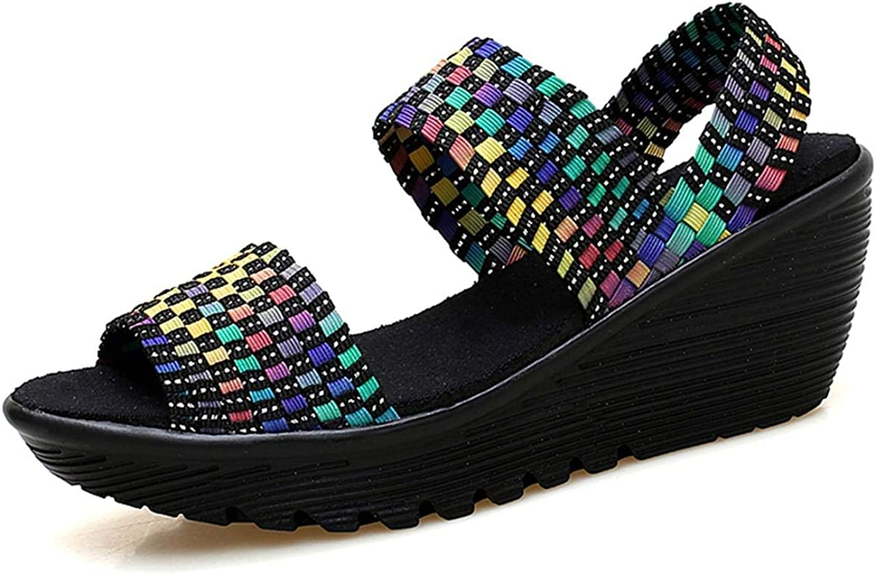 WSKEISP Womens Woven Ankle Strap Wedge
