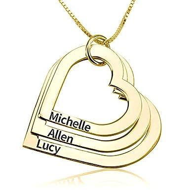HACOOL personalisierte 925 Sterling Silver Triple Heart Anhänger ...