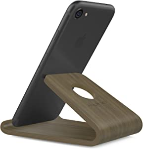 """MoKo Wooden Cell Phone Stand, Smartphone Desktop Holder, Mobile Phone Holder Cradle, Fits with iPhone 11 Pro Max/11 Pro/11, iPhone Xs Max XR X, iPhone SE 2020, Galaxy S20 6.2"""", Walnut Color"""