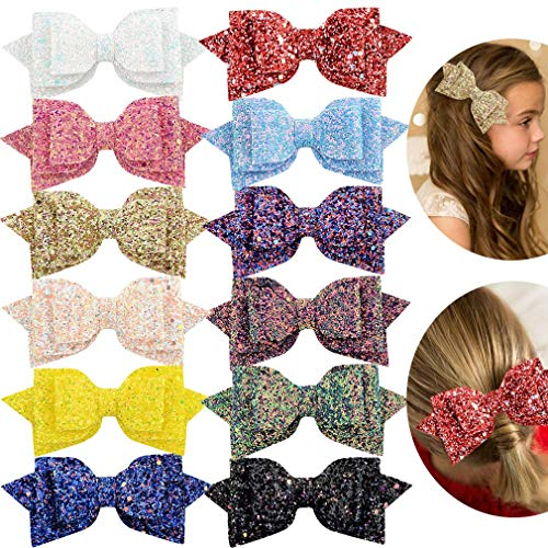 Big Hair Clips Boutique 12pcs Sparkly Sequin Alligator Clips Barrette Hair Accessory for Baby Girls women Toddlers ()