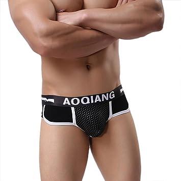 Lenfesh Bóxers Hombre Algodon Sexy Calzoncillos de Hombres Cintura Baja Calzoncillos Slip Múltiples Colores (Medium, Negro): Amazon.es: Electrónica