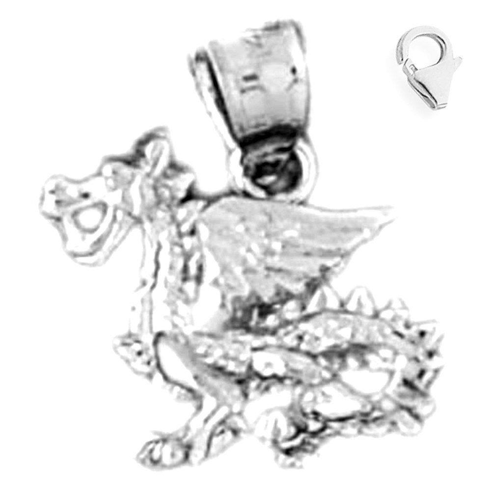 JewelsObsession Sterling Silver 17mm 3-D Dragon Charm w//Lobster Clasp