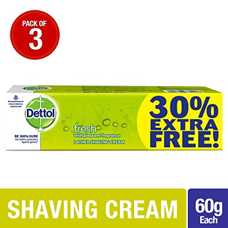Dettol Fresh Shaving Cream - 60g + 18g extra (Pack of 3)