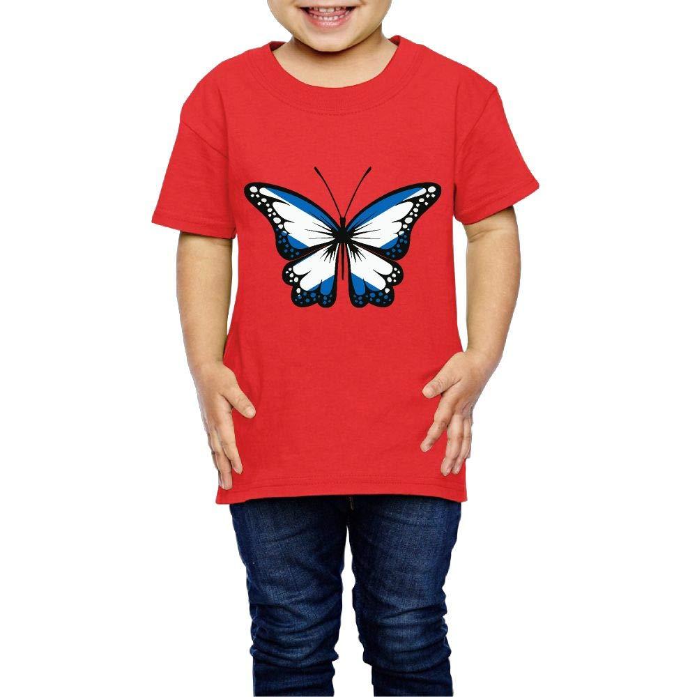Scotland Flag Butterfly 2-6 Years Old Boys /& Girls Short Sleeve T-Shirt