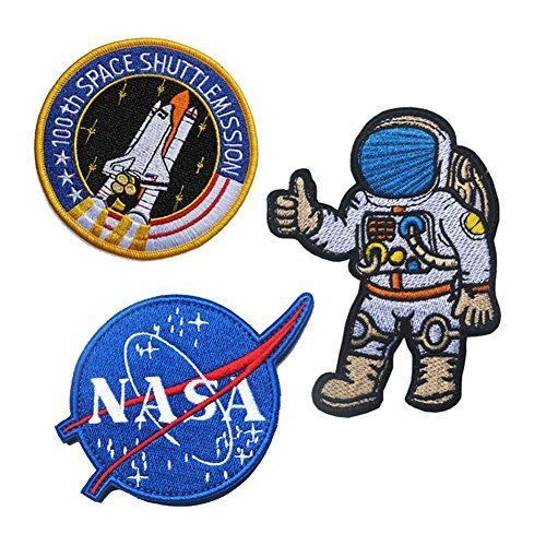 Joylish 3 Set Large NASA and Astronaut Iron on Patches, Decorative Sew on Pacth Badges for DIY Clothing Jeans Backpack Jackets - NASA, Astronaut and Shuttle