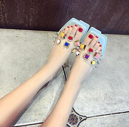 Langmotai Sandalen Sommer Schuhe Nieten Crystal Hausschuhe quadratischen Kopf Strand niedliche Hausschuhe  65|4
