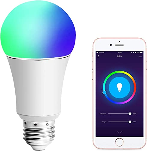 Smart Light Bulb, Compatible with Alexa and Google Assistant and IFTTT, 90W Equivalent, E27 A19 RGBW Edison Bulb, 8 Scene Mode, No Hub Required – 1 Pack