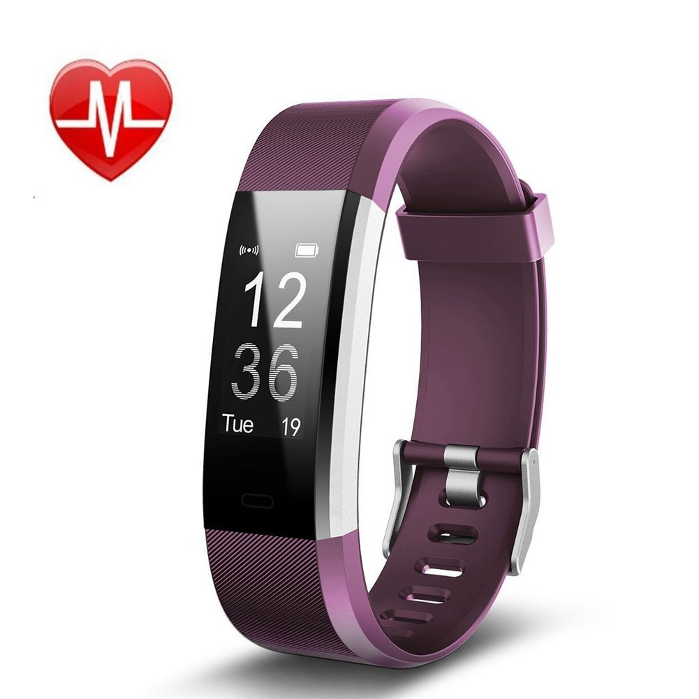 REDGO Fitness Tracker With Heart Rate Monitor Smart Watch Activity Wristband Bracelet Water Resistance GPS Tracking Sleep Monitor 0.96'' Touch OLED Large Screen ID115HR PlUS for Kids Women Men, Purple