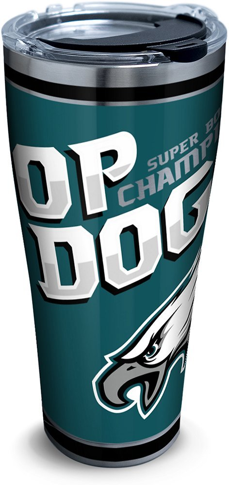 Tervis 1295423 NFL Philadelphia Eagles Super Bowl 52 Champions Top Dog Insulated Tumbler with Clear and Black Hammer Lid, 30 oz Stainless Steel, Silver