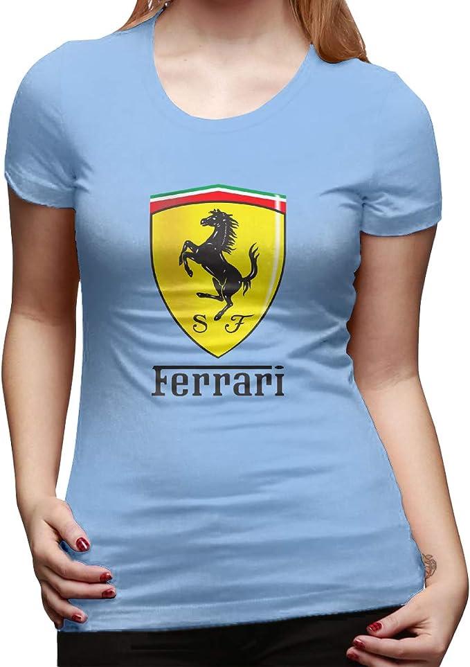 Zhyhang Lady Enzo Ferrari - Camiseta, Color Blanco, S, Azul (Sky Blue): Amazon.es: Deportes y aire libre