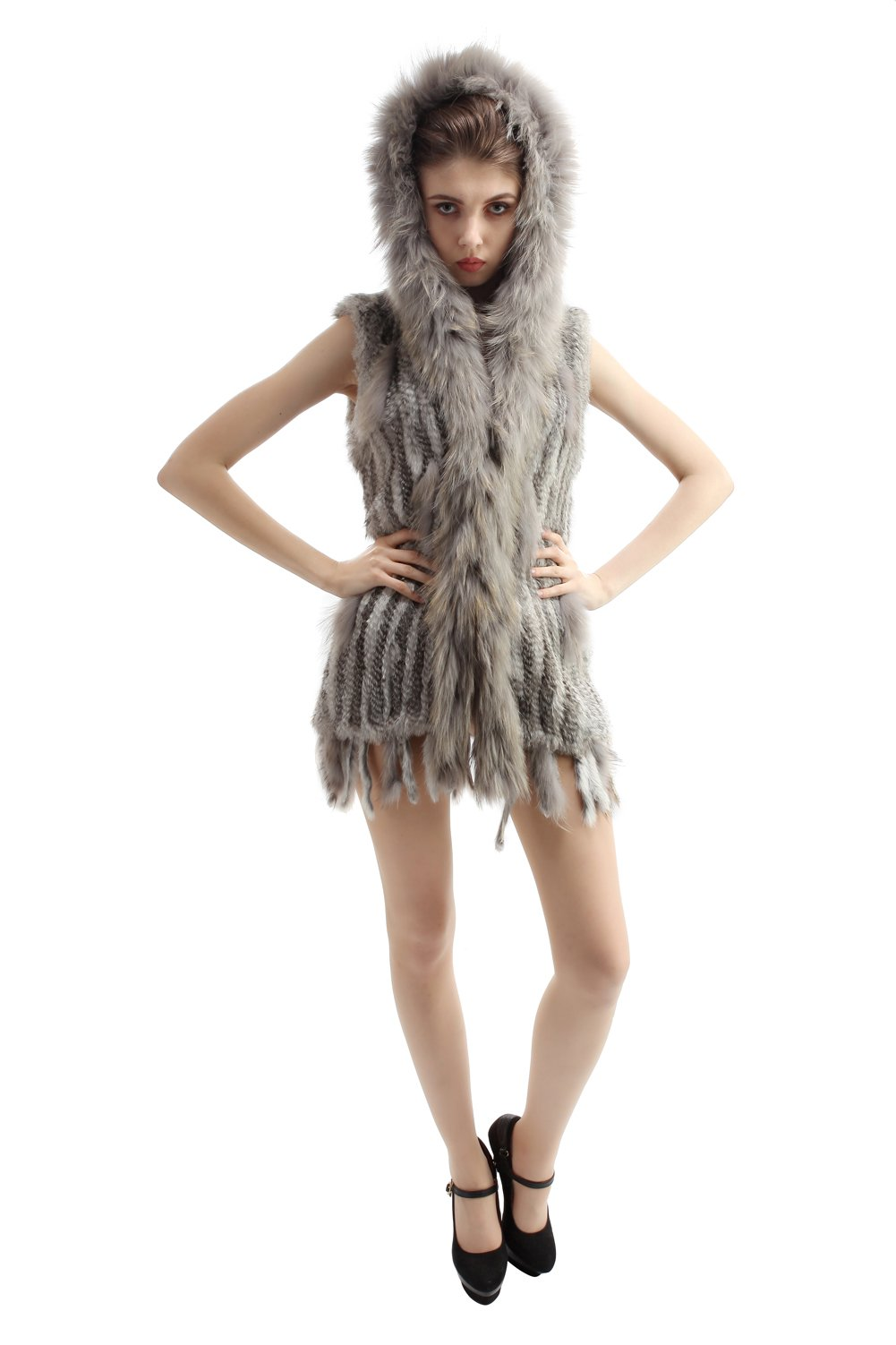 Vemolla Luxurious Knitted Rabbit Fur Trim Jacket Vest with Hood Size XXXL Nature Grey