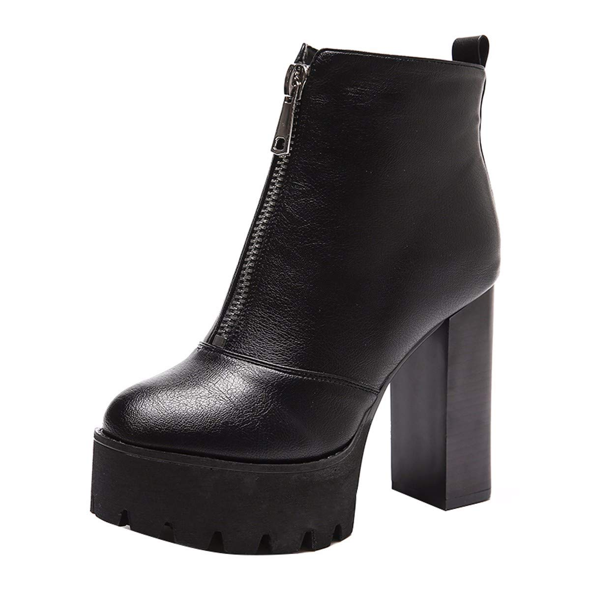 KPHY Damenschuhe - Reißverschluss Samt Stiefeln Heel 12 Mode cm Mode 12 100 Sätze Dicke Sohle Martin Stiefel 593990
