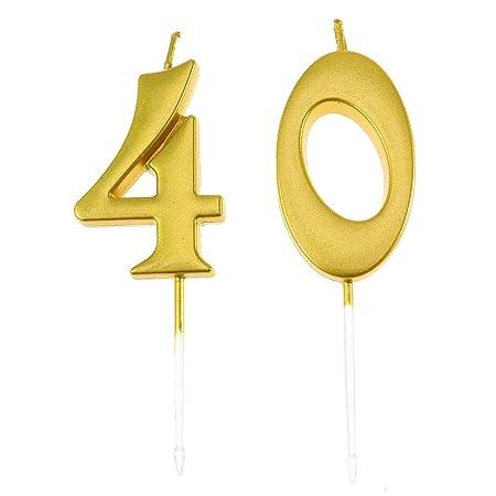 Amosfun 2pcs 40.a Torta de cumpleaños Vela Decorativa Pastel ...