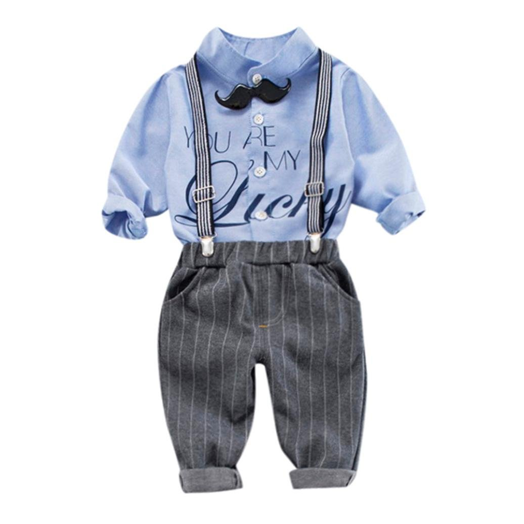 Huhu833 Baby Kleidung, 3 Stü ck Kleinkind Baby Jungen Tops Shirt + Hosen + Gü rtel Outfits Hosen Set