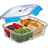 Contenitori per Alimenti, vetro Lunch Box ermetico con 3-scomparti, 100% privo di BPA, a prova di perdita, adatto congelatore, forno, microonde e Lavastoviglie, ideali per la conservazione di alimenti