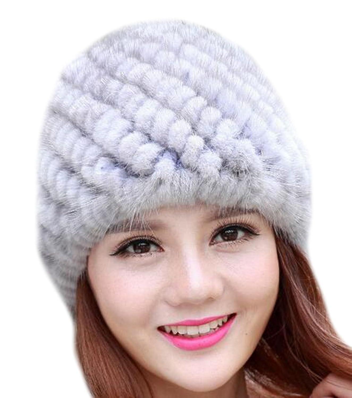 Vska Girls Ladies Winter Warm Mink Fur Knit Beanie Hat Skull Caps