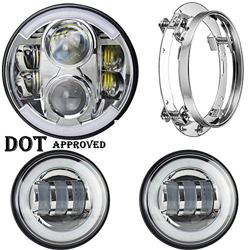 UNI Harley Davidson 7 INCH Daymaker Led Headlight & 4.5 INCH Fog Lights & Mounting Bracket for Touring Electra Glide Road King Street Glide Ultra Limited Trike Softail Deluxe Fat Boy Heritage