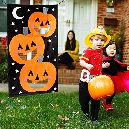 Pumpkin Hanging Toss Game with 3 Bean Bags for Adults Kids Halloween Party Decor Funny Props -
