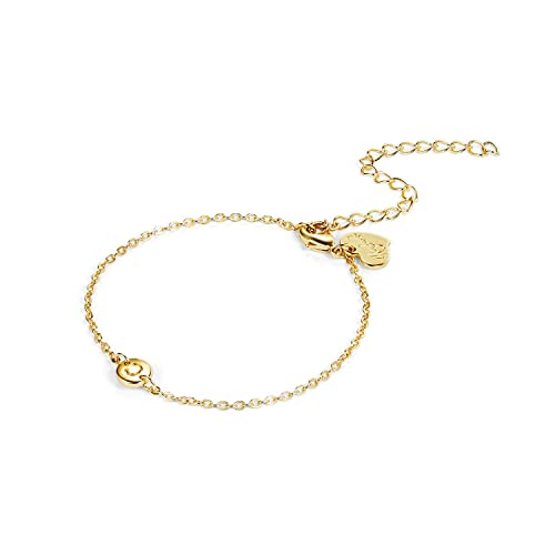 844ff4742bee3 LOYATA Women's Initial Charm Bracelet, 14K Gold Plated Small Round ...