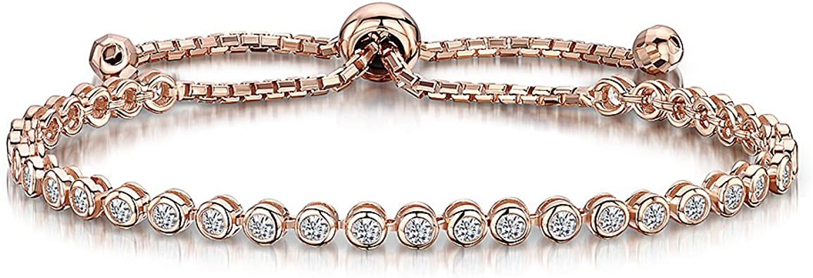 JOOLS plaqué or rose bracelet style 'Amitié' Argent Avec Rub sur CZ pierres: JOOLS