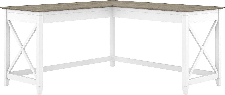 Bush Furniture Key West 60W L Shaped Desk, Pure White and Shiplap Gray