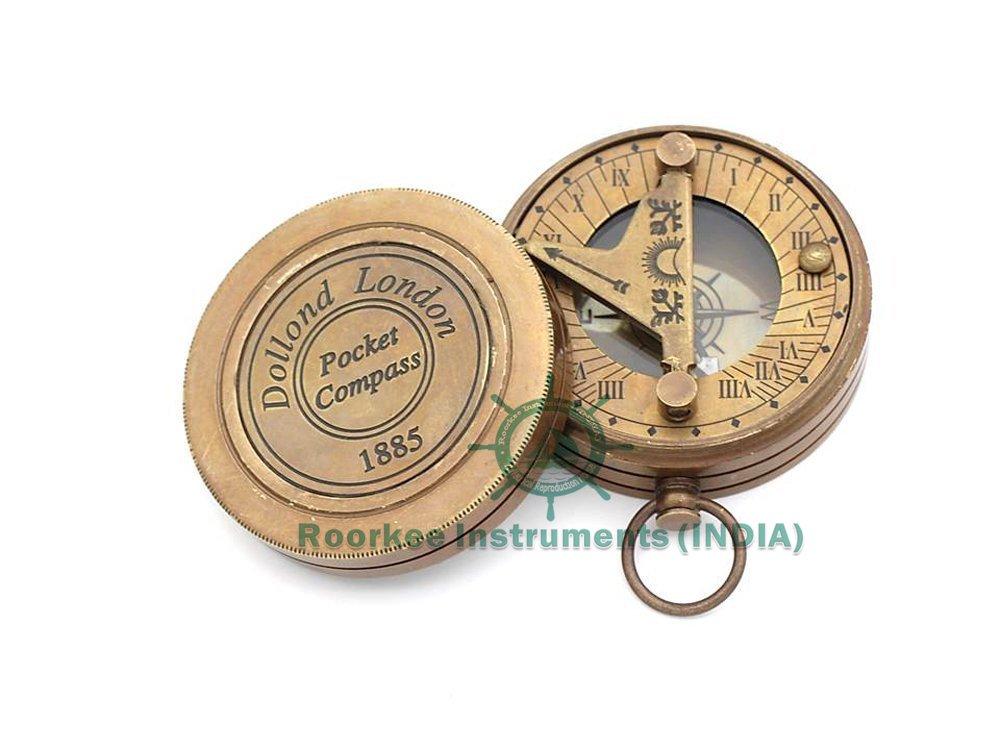Brass Sundial Compass - Pocket Sundial Compass - London Roorkee Instruments India RIIFA128