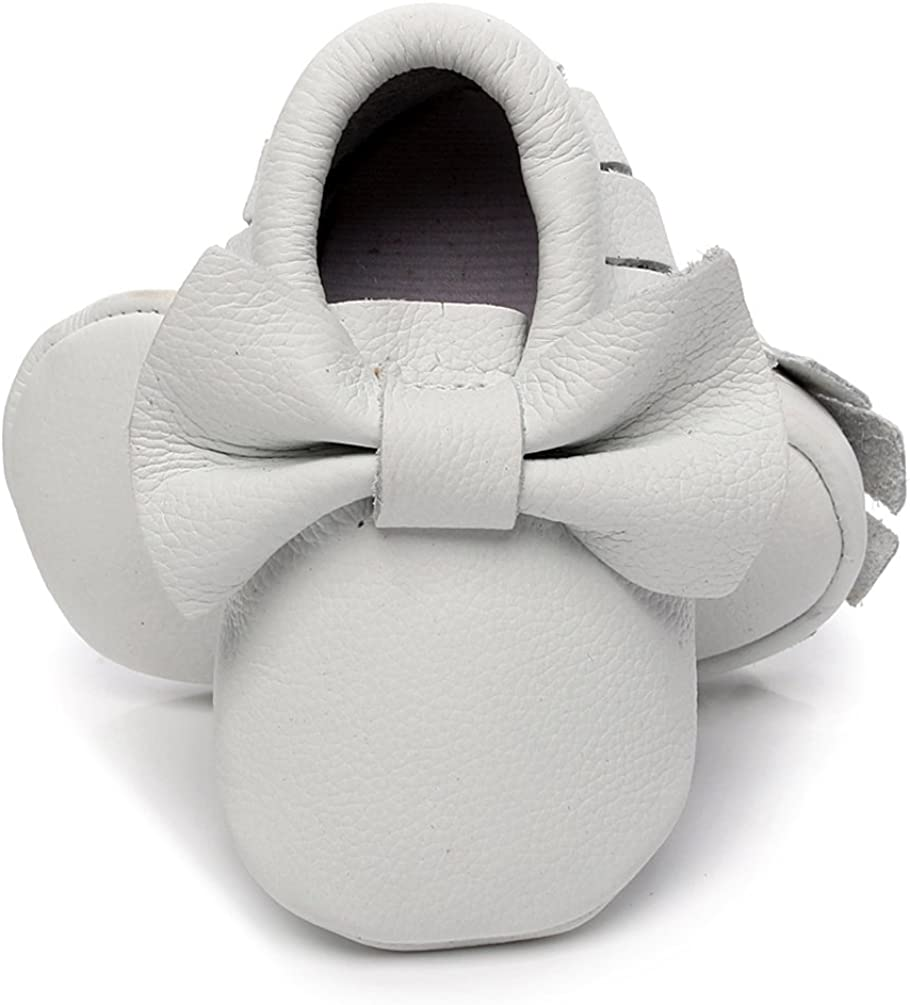 HONGTEYA Infant Toddlers Premium Genuine Leather Baby Bow Moccasins - Red Soft Sole Tassel Crib First Walkers Shoes (0-3 Months/US 3/4.13''/See Size Chart, Bow-White)