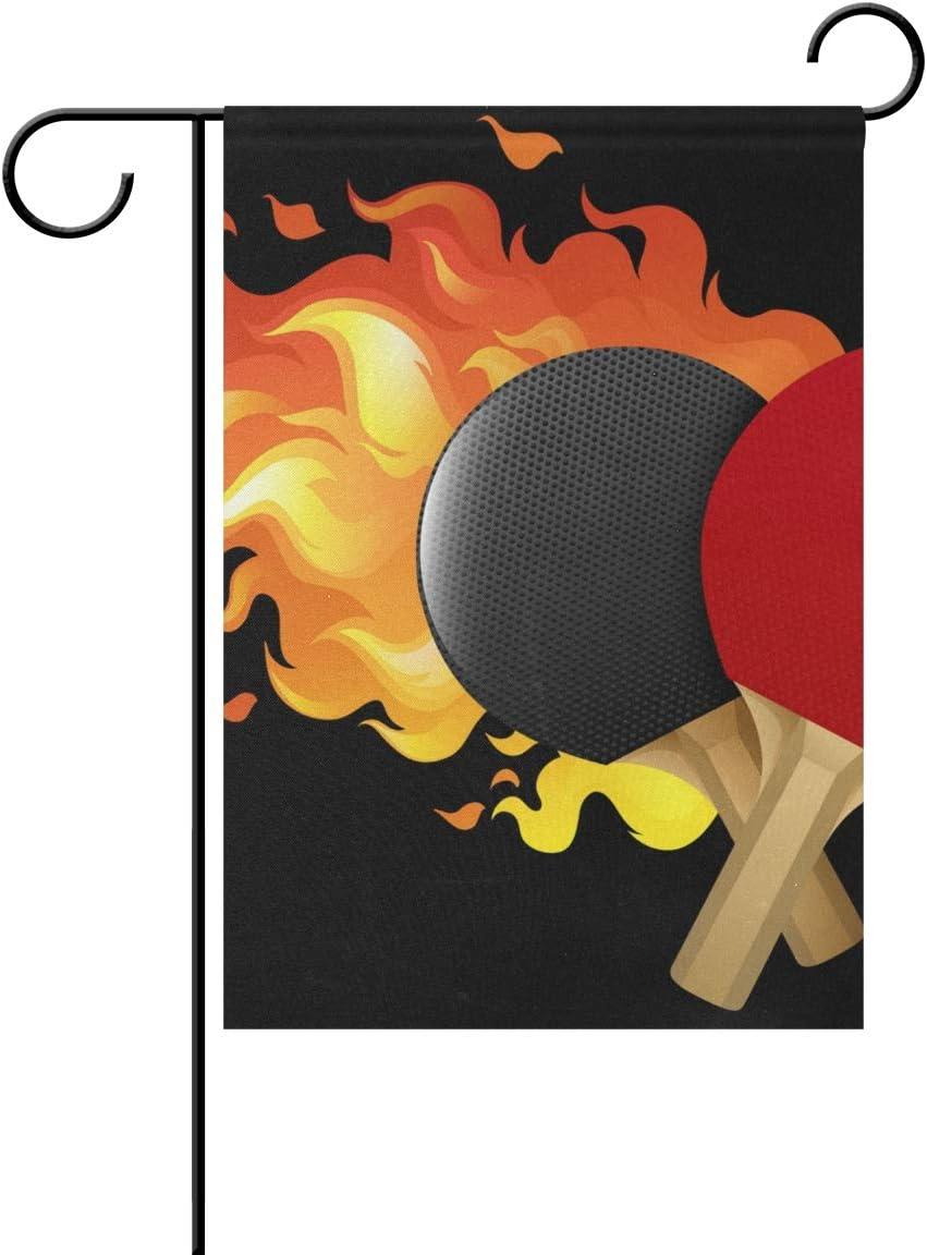 AMONKA - Juego de Mesa de Ping Pong con Bandera de jardín de Doble Cara de poliéster para decoración de casa o al Aire Libre de 12 x 18 Pulgadas, poliéster, Multicolor, 28x40 Inch