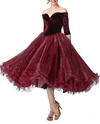 Off Shoulder Tea Length Prom Dress Half Sleeve Poofy Organza Evening Party Gown Burgundy Size 2