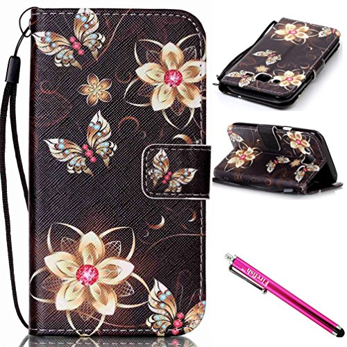 Galaxy J5 2015 Case, Firefish Kickstand Flip [Card Slots] Wallet Cover Double Layer Bumper Shell with Magnetic Closure Strap Protective Case for Samsung Galaxy J5 (2015 Version)-Butterfly
