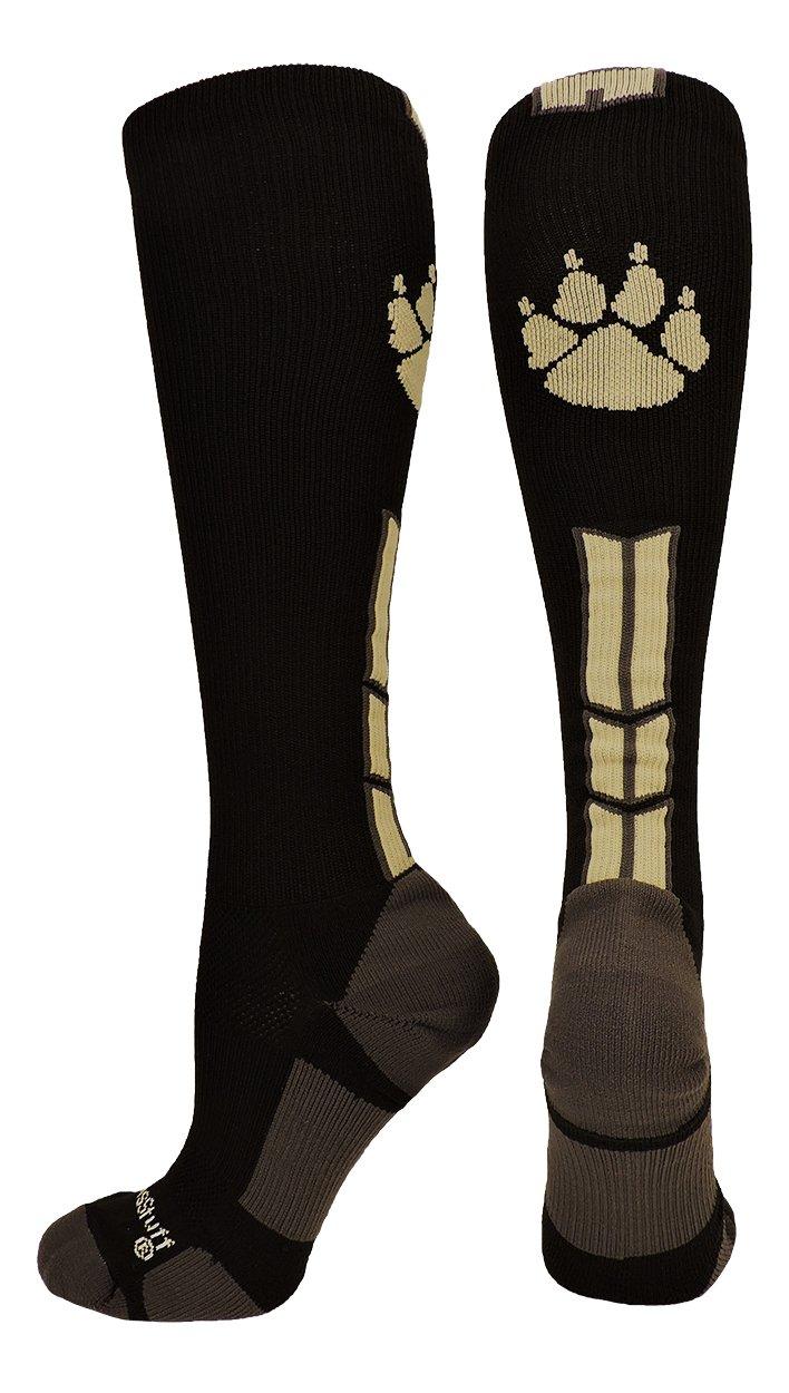 MadSportsStuff Wild Paw Over The Calf Socks (Black/Vegas Gold, Medium) by MadSportsStuff
