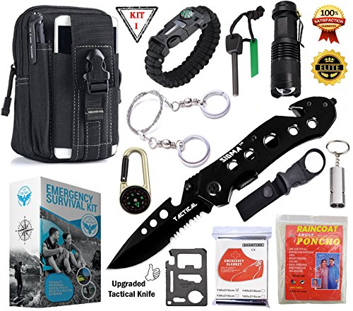 SIGMA - Emergency Survival Kit - Survival Gear With Upgraded Tactical Professional Lifesaving Emergency Tools - Emergency Survival Gear kit For Climbing, Hiking, Biking, Driving, Fishing, Boating, Geocaching, Disaster Preparedness & Wilderness Adventures. Paracord Bracelet, Upgraded Tactical Knife, Emergency Blanket, Raincoat, SOS
