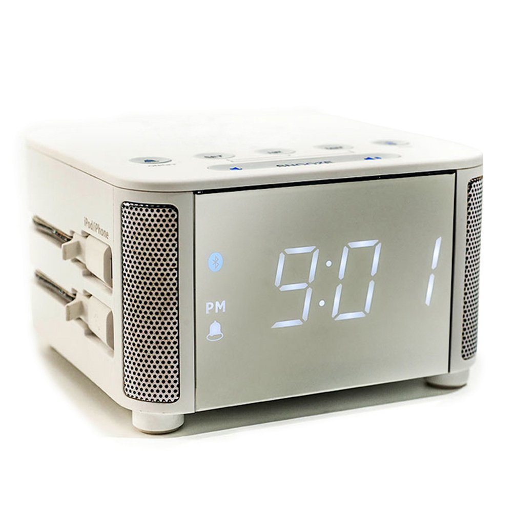 Kube Clock: Multi-function Alarm Clock with Bluetooth Alarm, Inbuilt iPhone and Micro USB cables. Suitable for iphone/ipad/ipod/Android phone and tablets.