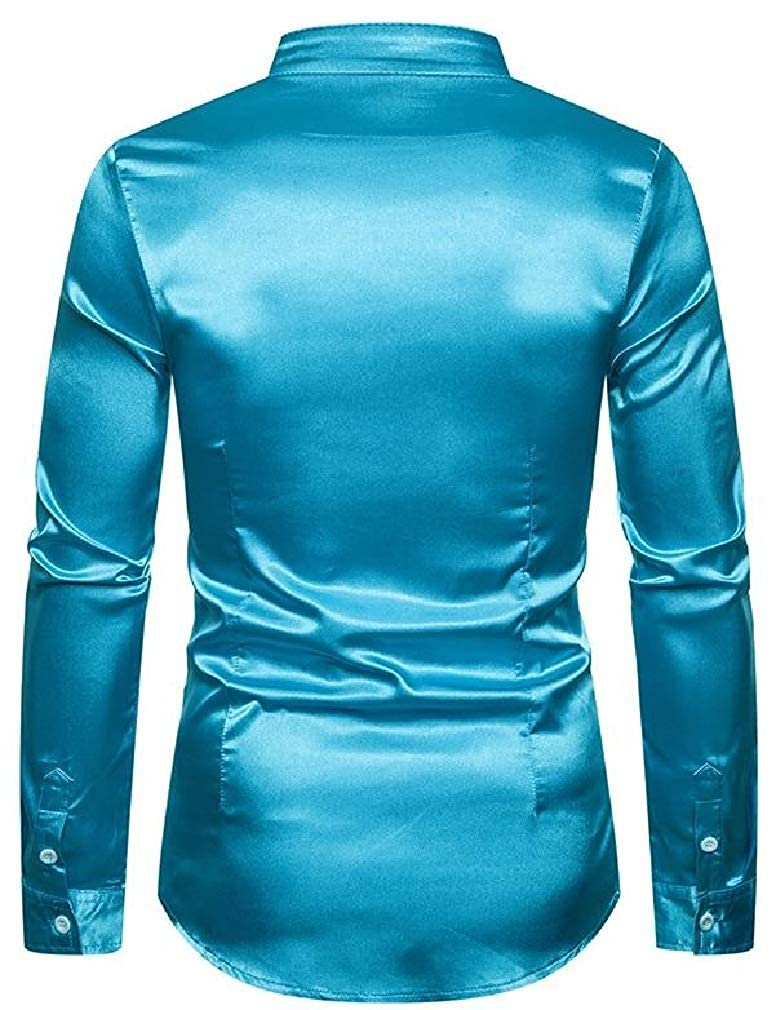 Lutratocro Mens Long Sleeve Stand Collar Satin Button Up Slim Fit Shirts