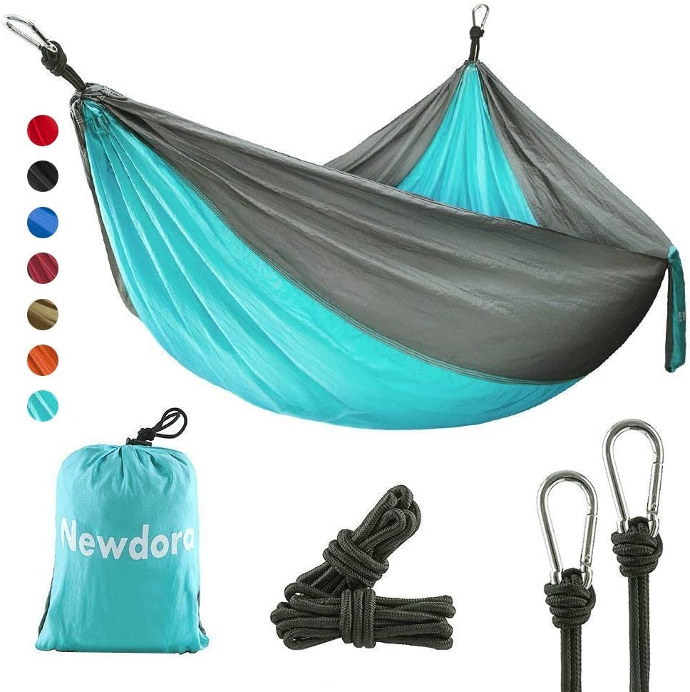 Newdora Camping Hammock with Tree Straps Portable Lightweight Nylon Hammock, Parachute Double Hammock for Backpacking,Camping,Travel,Beach,Yard.105 L x 56 W .