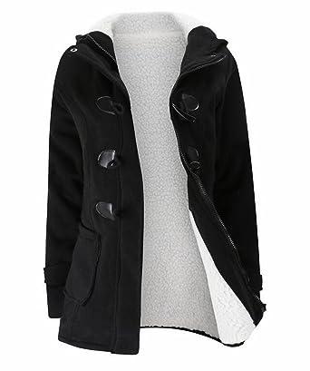 10c6ba2edb97 LD Womens Thicken Sherpa Lined Hooded Wool Blend Pea Coat Jacket Outwear  Black XXS