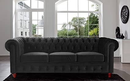 Superior Divano Roma Furniture Velvet Scroll Arm Tufted Button Chesterfield Style  Sofa, Black