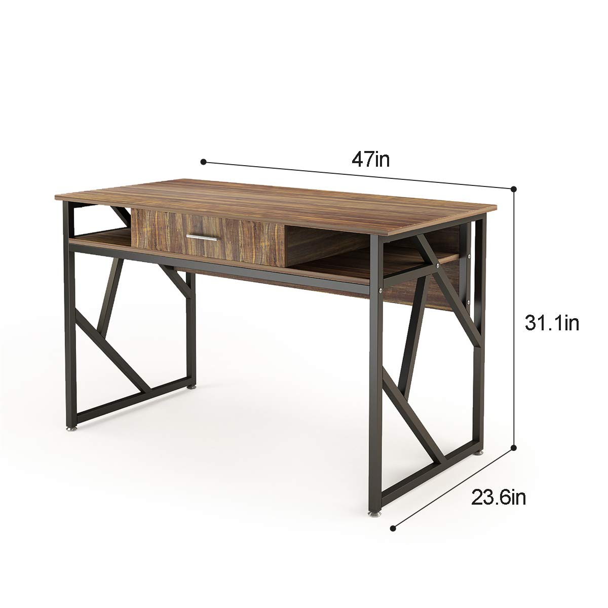 Computer Desk with Drawer DEWEL 47'' Executive Desk Office Writing Desk PC Laptop Workstation Space-Saving Study Desk with Storage for Home Office Study Rustic Easy Assembly by DEWEL