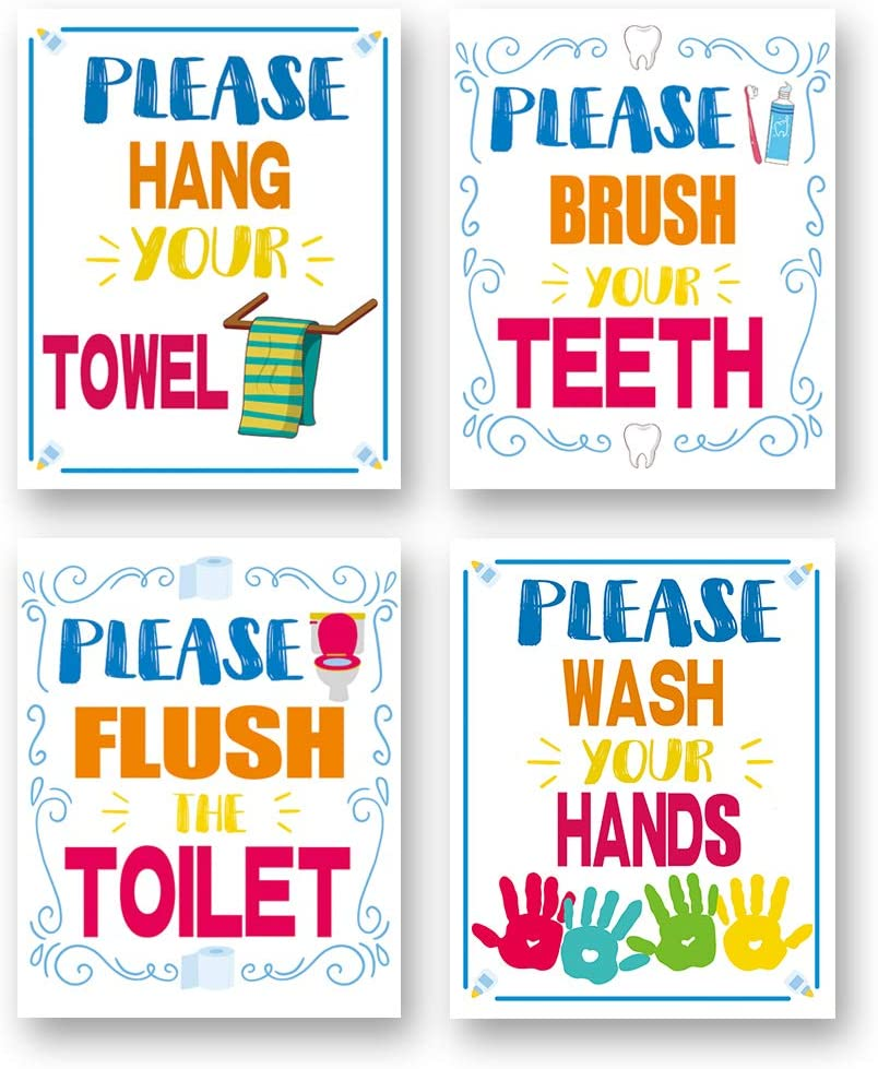 Colorful Bathroom Quote Wall Art Print-- Bathroom or Nursery Wash Room Decor--Hang Your Towel, Brush Your Teeth, Flush The Toilet, Wash Your Hand Quote Canvas Print ( Set of 4 )--Unframed--8X10 inch