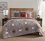 10 Piece Phoebe Brown/Orange Comforter Set w/Sheets King
