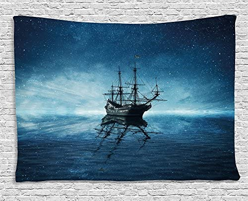 Ambesonne Ocean Tapestry, Ghost Pirate Ship on Dark Sewith Starry Night Skynd Water Reflection, Wide Wall Hanging for Bedroom Living Room Dorm, 80 X 60 , Blue White