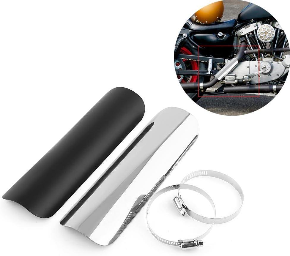 Escudo Termico para Escape Moto Protector T/érmico del Tubo de Escape Negro