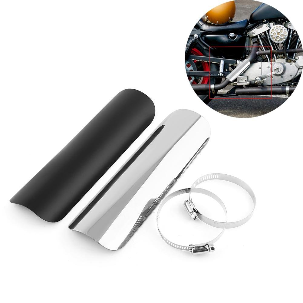 Heat Shield Straight Cover Metal Steel Motorcycle Exhaust Muffler Pipe Leg Protector with 2 Clamps for Motorcycles Harley Choppers Cruisers Kawasaki Models Dia 50mm-70mm