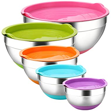 TASTI Stainless Steel Mixing Bowls with Airtight Lids, 5 Piece Colorful Silicone Flat Base Nesting Metal Bowls, 7-3.5- 2.5-2- 1.5 Quart Measurement Lines Polished Mirror Finish For Cooking Supplies