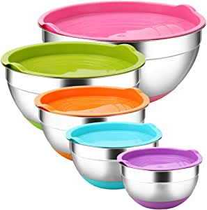 Stainless Steel Mixing Bowls with Airtight Lids by REGILLER, 5 Piece Colorful Silicone Flat Base Nesting Metal Bowls, 7-3.5- 2.5-2- 1.5 Quart Measurement Lines for Cooking Supplies