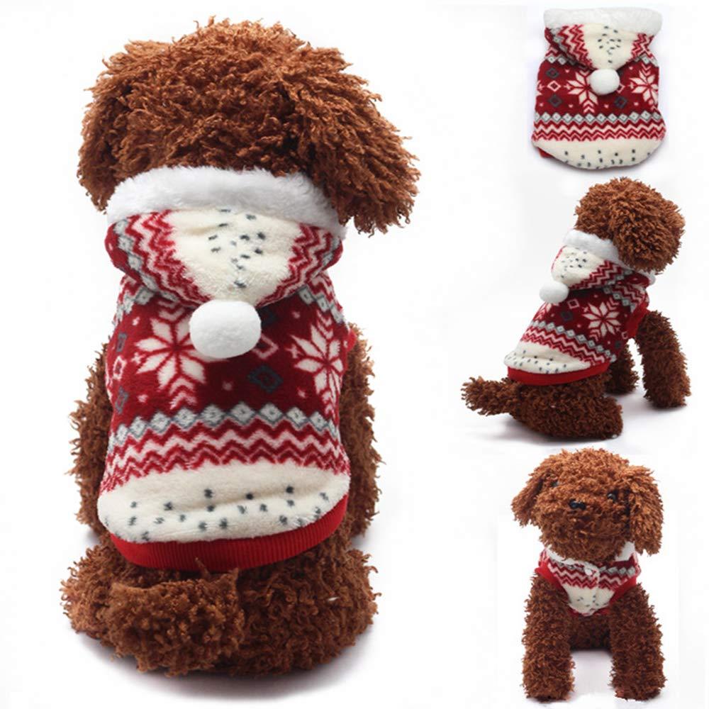 Ogquaton Mascota con Capucha Perro Mascota Perro Navidad Copos de Nieve Ropa Abrigo de algod/ón c/álido Perro Oto/ño Invierno Ropa M Rojo