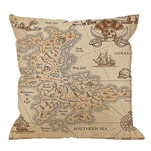 HGOD DESIGNS Map Pillow Case,Map Island Old Ancient Antique Cotton Linen Cushion Cover Square Standard Home Decorative for Men/Women 18x18 inch Brown